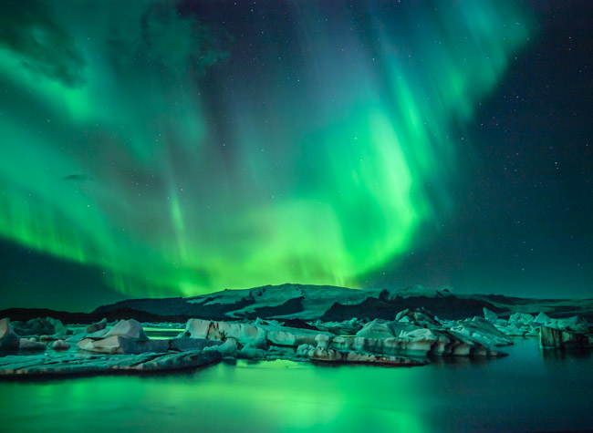 The Glacial Lagoon Aurora borealis Northern lights iceland